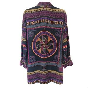 CO Button Down Tribal Print Oversixed Blouse Tunic